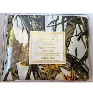 Camouflage QUEEN Sheet Set Snowy White Camo Print